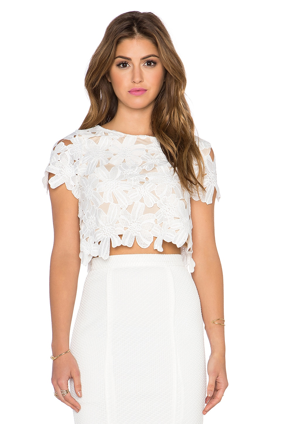 LIV Shelly Cap Sleeve Cropped Top in Ivory