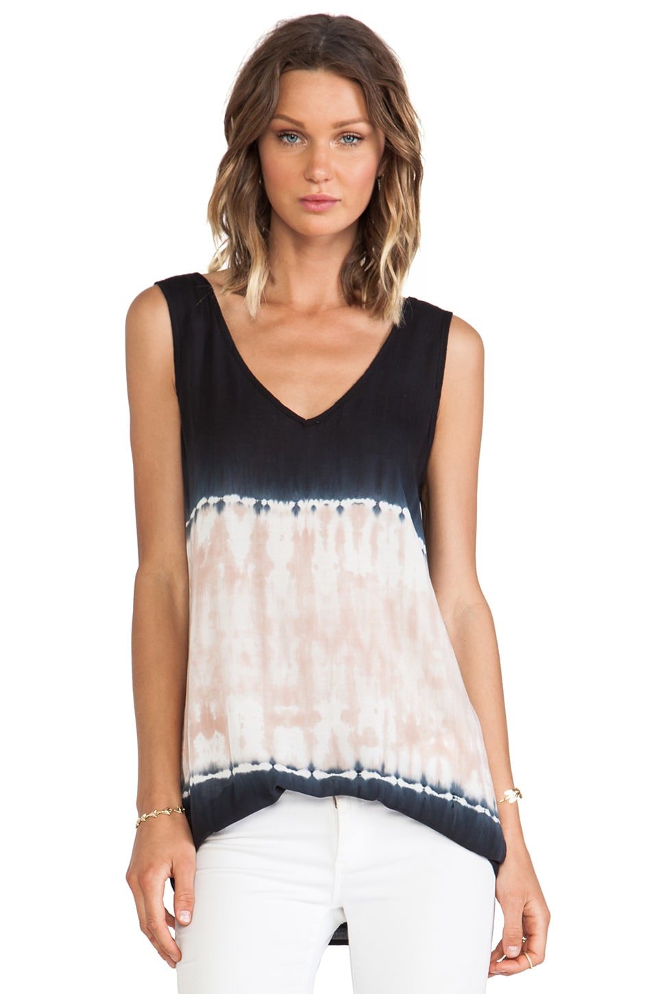 LIV Double V Tunic in Black & Nude