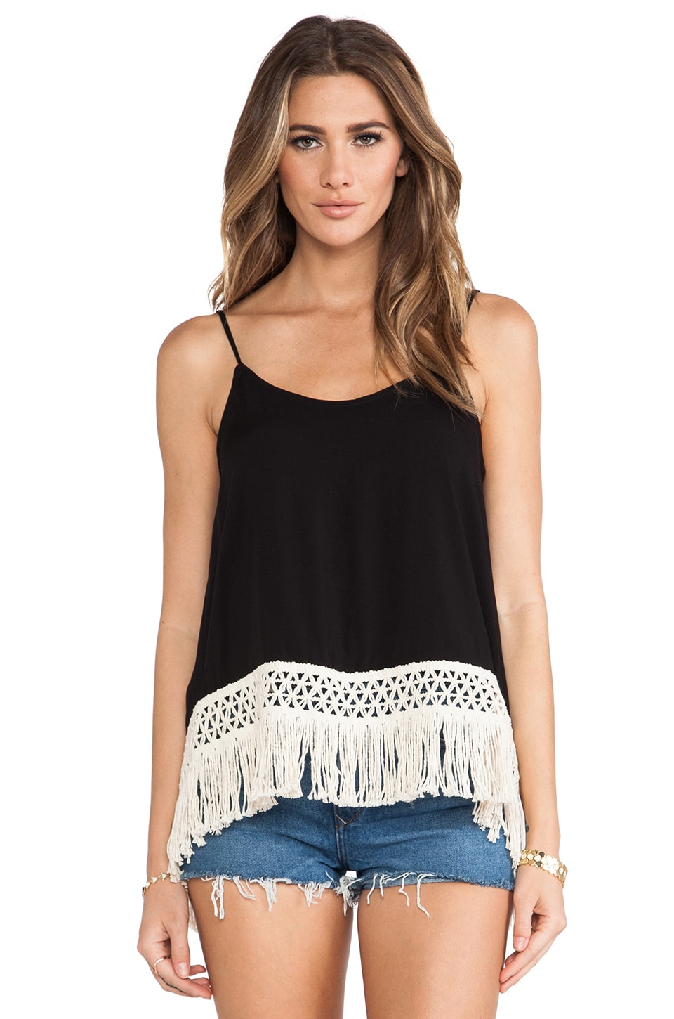 LIV Fringe Cami Tank in Black & Cream Lace