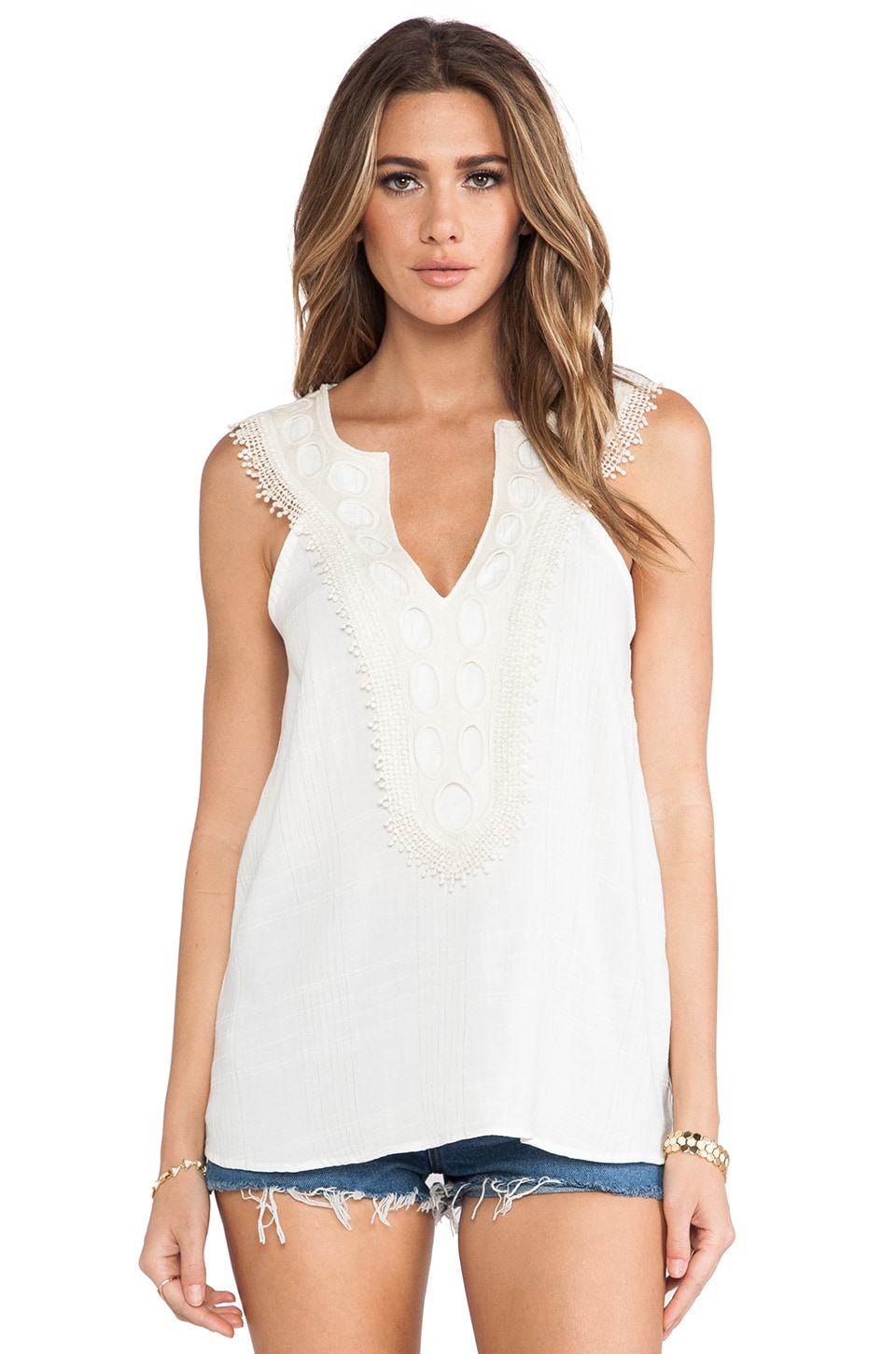 LIV Applique Tank in Cream