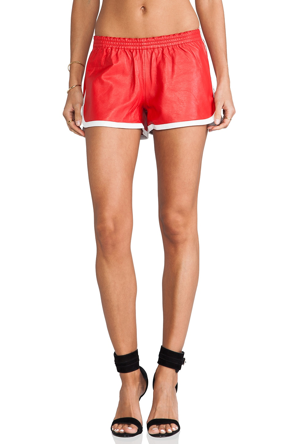 LOVE LEATHER Lets Rally Short in Red & White Piping