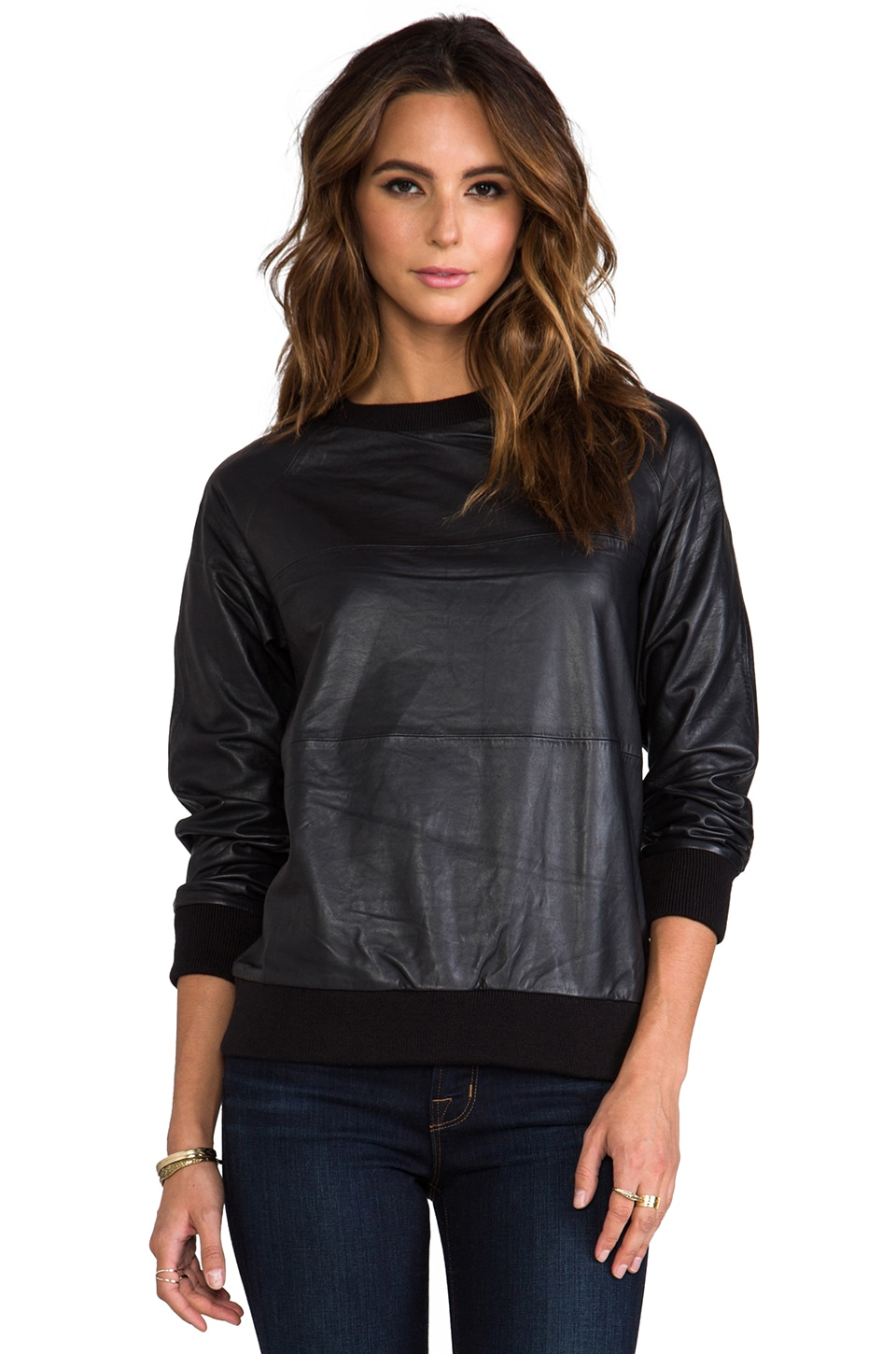 LOVE LEATHER Baller Crew Neck Sweater in Black Licorice