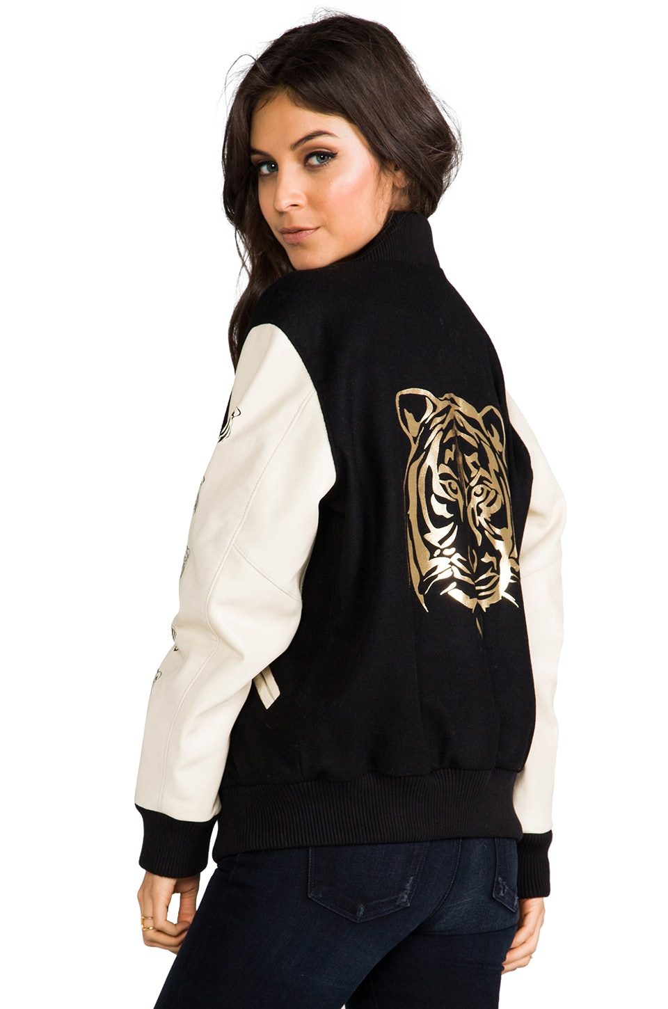 LOVE LEATHER Lover Letterman Jacket in Big Tiger