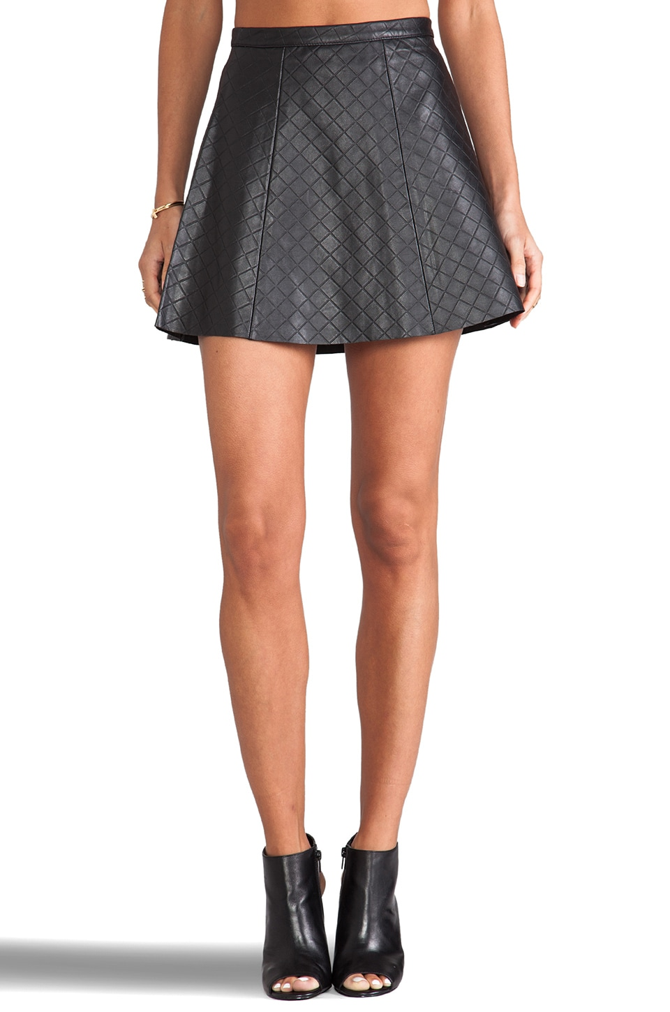 LOVE LEATHER Legs Legs Legs Quilted Skirt in Black