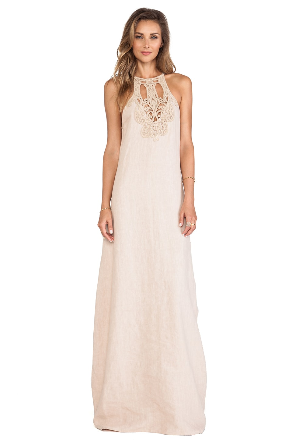 Lisa Maree A Night Alone Linen Dress in Taupe