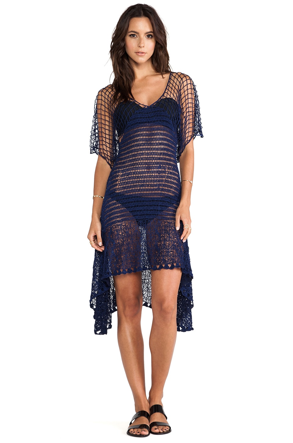Lisa Maree A Path Less Traveled Crochet Butterfly Sleeve Kaftan in Deep Navy