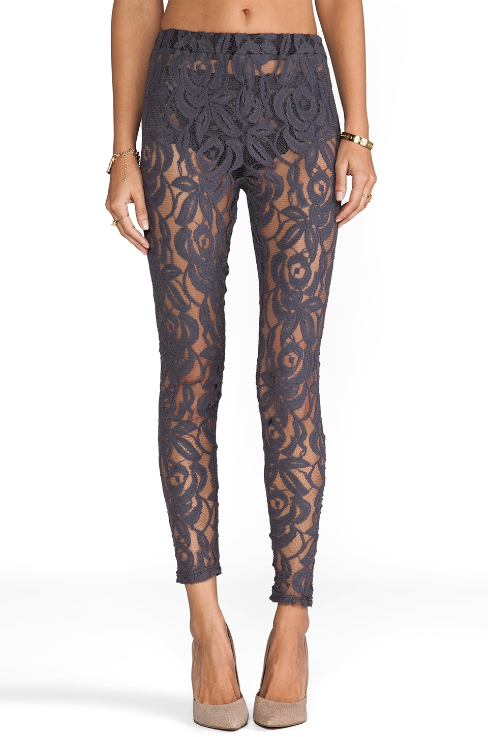 Lisa Maree Hunting Begins Lace Leggings in Acid Black