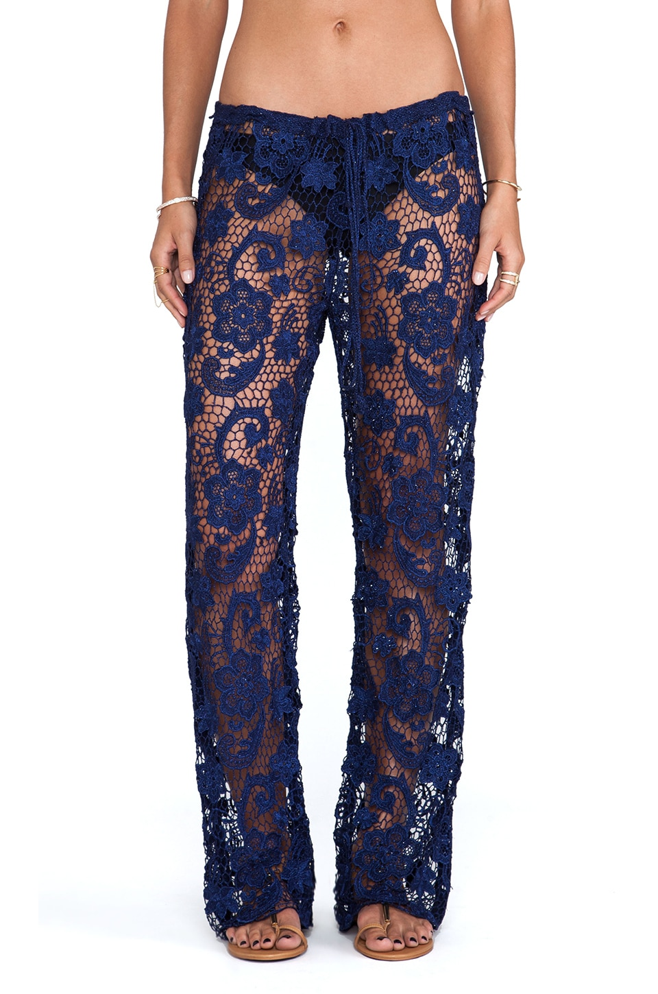 Lisa Maree Nine Lives Crochet Lace Pant in Navy