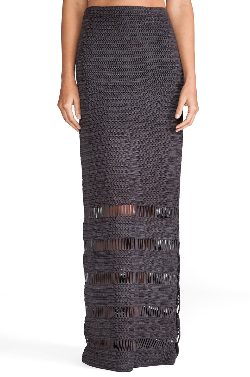 Lisa Maree Five Steps Crochet Maxi Skirt in Acid Black