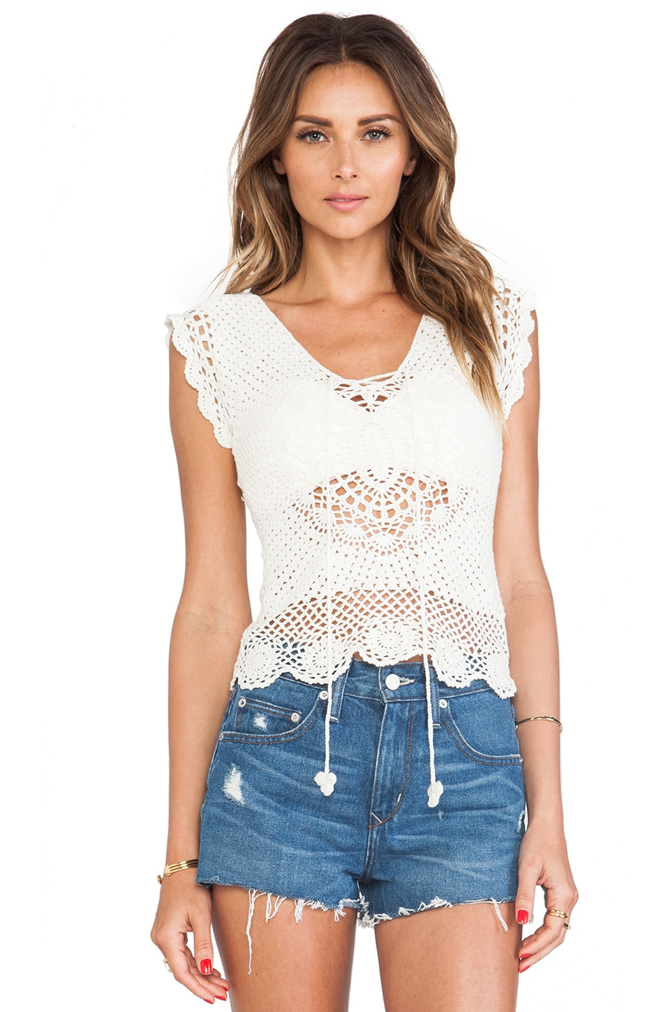 Lisa Maree First in Line Crochet Top in Cream