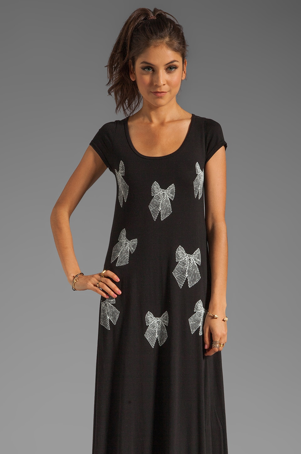 Lauren Moshi Jill Mini Bows Long Dress in Black