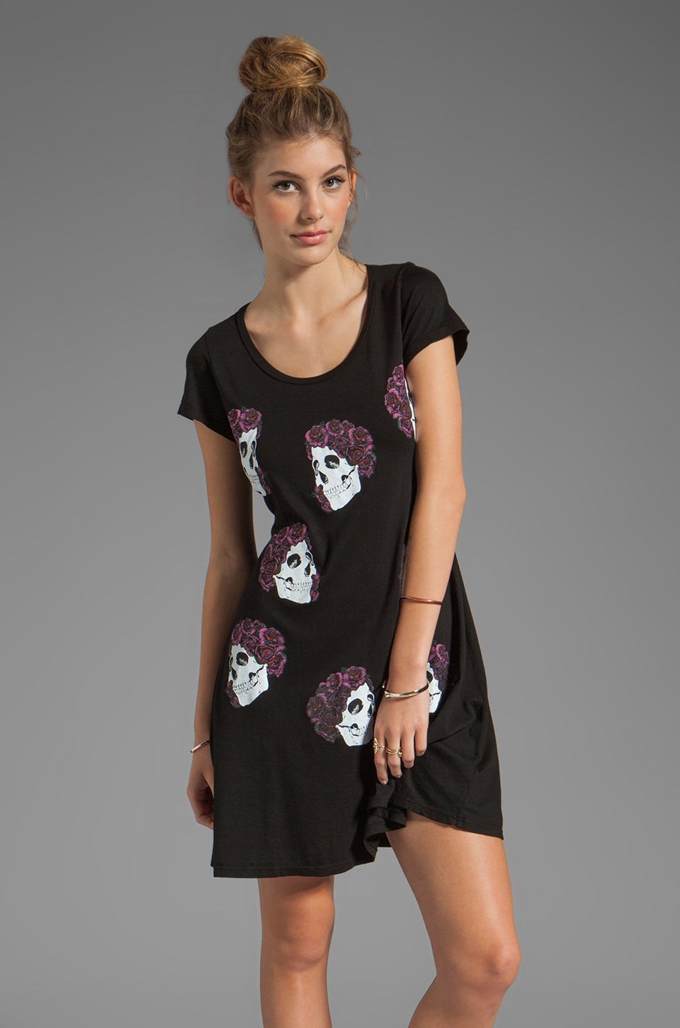 Lauren Moshi Abby Mini Color Skull with Roses Dress in Black