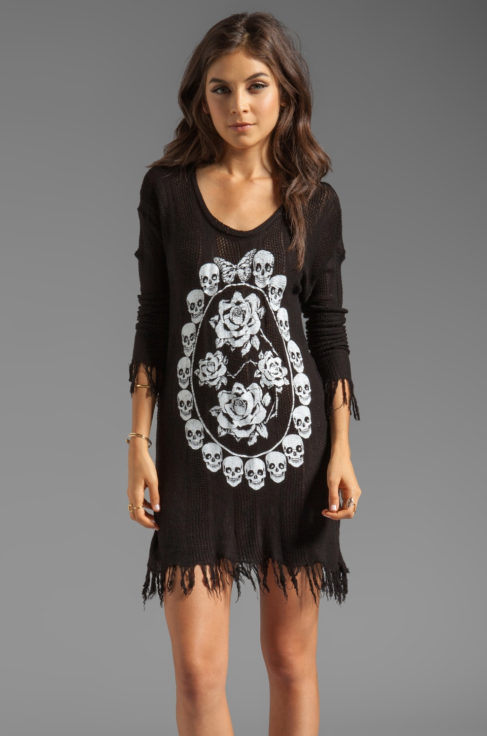 Lauren Moshi Gretta Skull Pendant Sweater Dress in Black