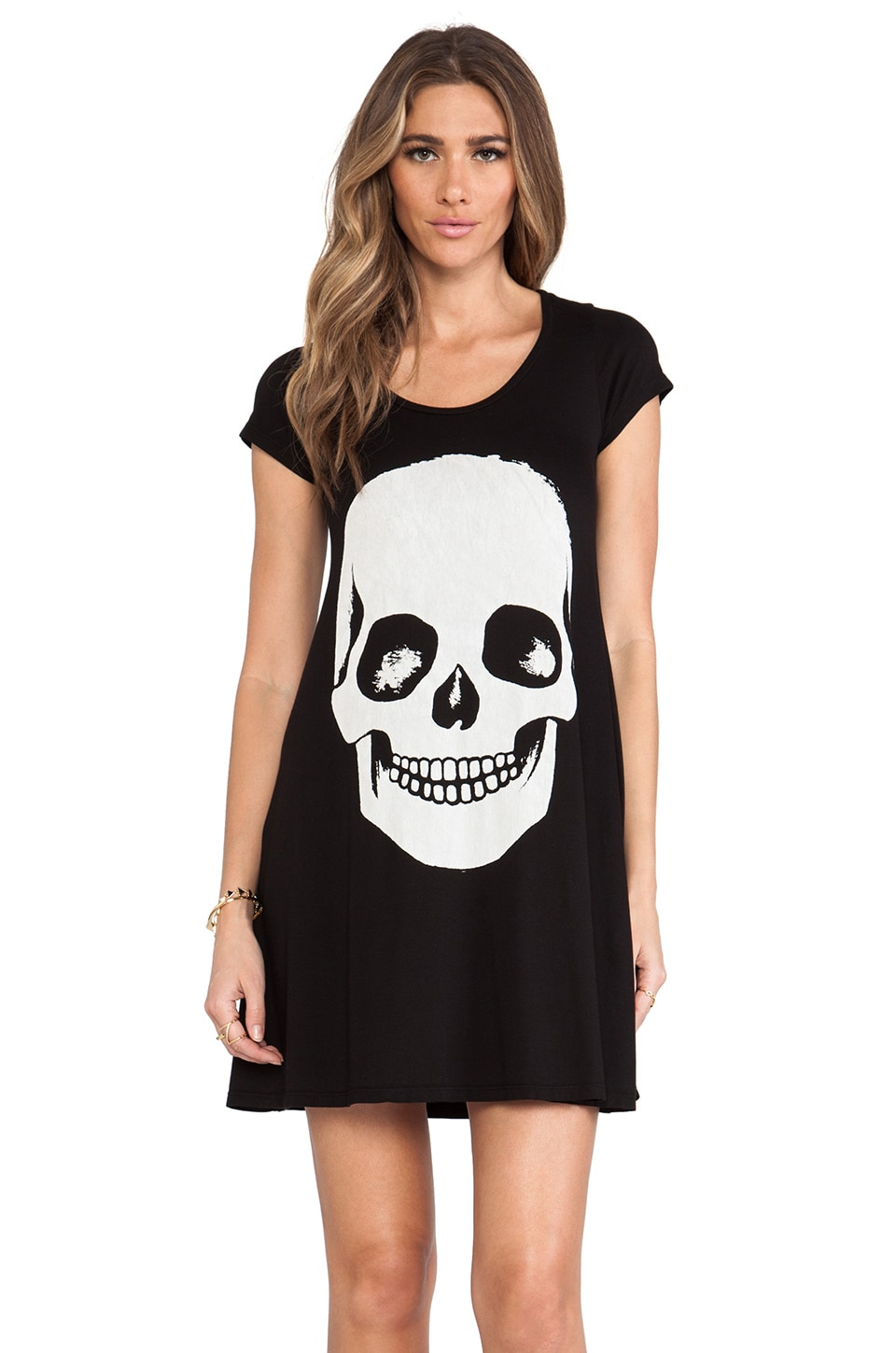 Lauren Moshi Abby Skull Face Short Sleeve Shirt Dress in Black