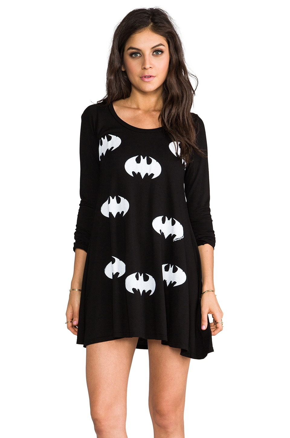 Lauren Moshi Fiona Mini Batman Tee Shirt Dress in Black