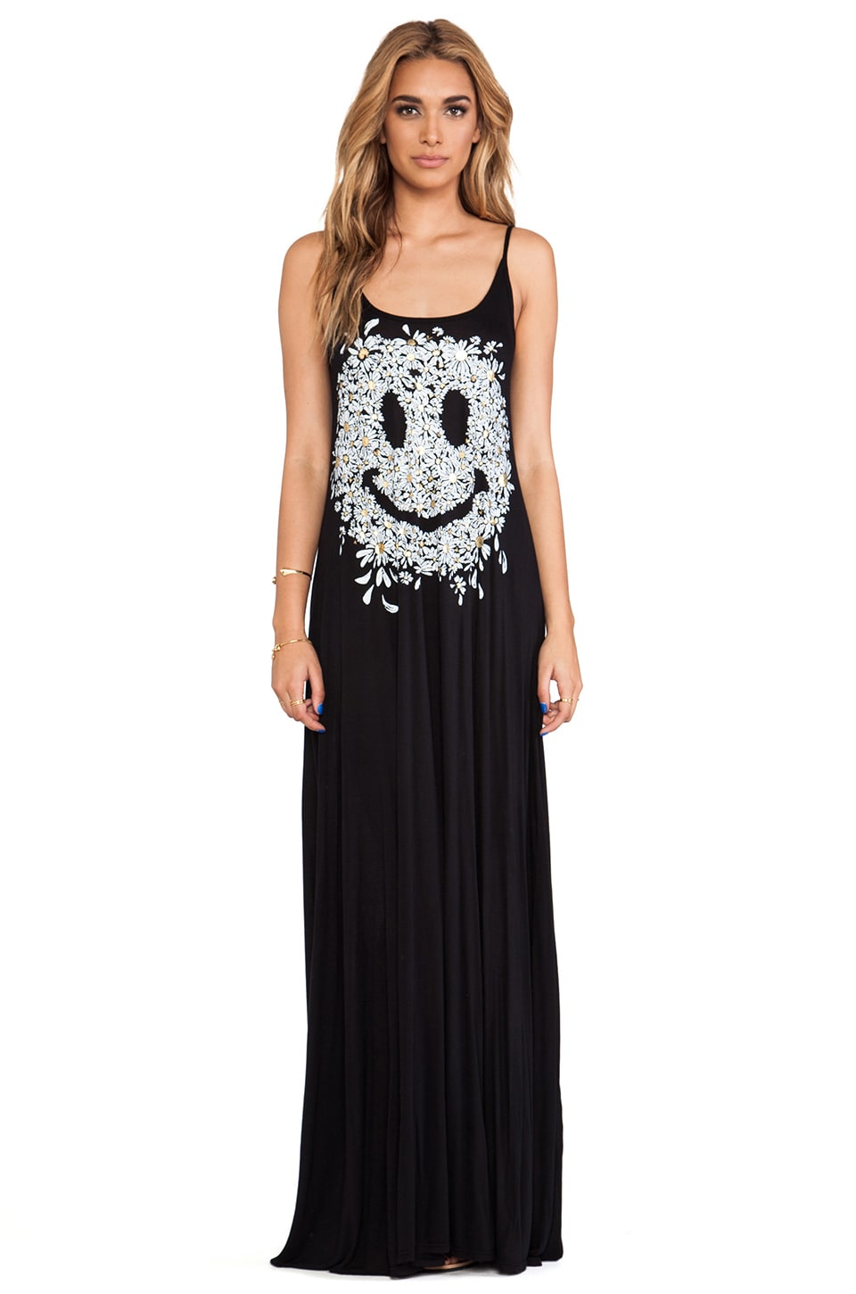 Lauren Moshi Lex Foil Daisy Happy Face Deep Back Maxi Dress in Black