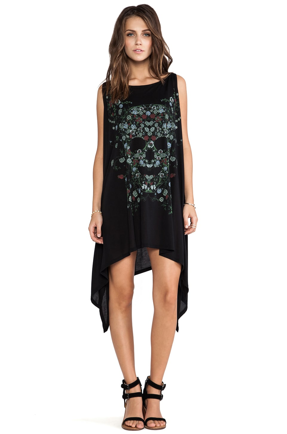 Lauren Moshi Ella Garden Skull Cape Dress in Black