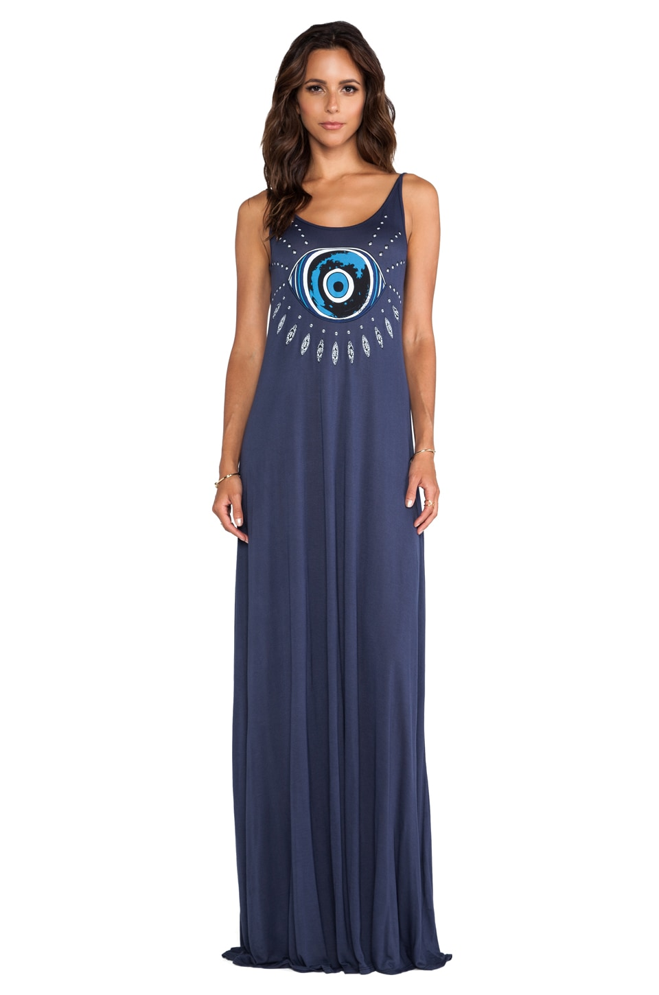 Lauren Moshi Lex Evil Eye Deep Back Maxi Dress in Navy