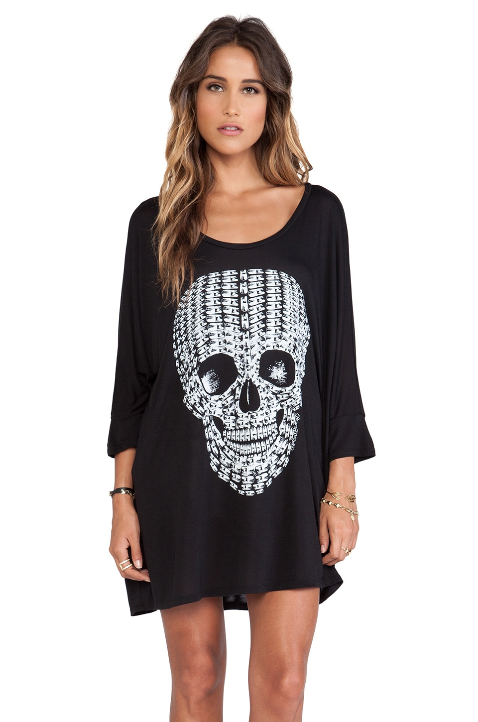 Lauren Moshi Milly No Color Pill Skull Oversized Dress in Black
