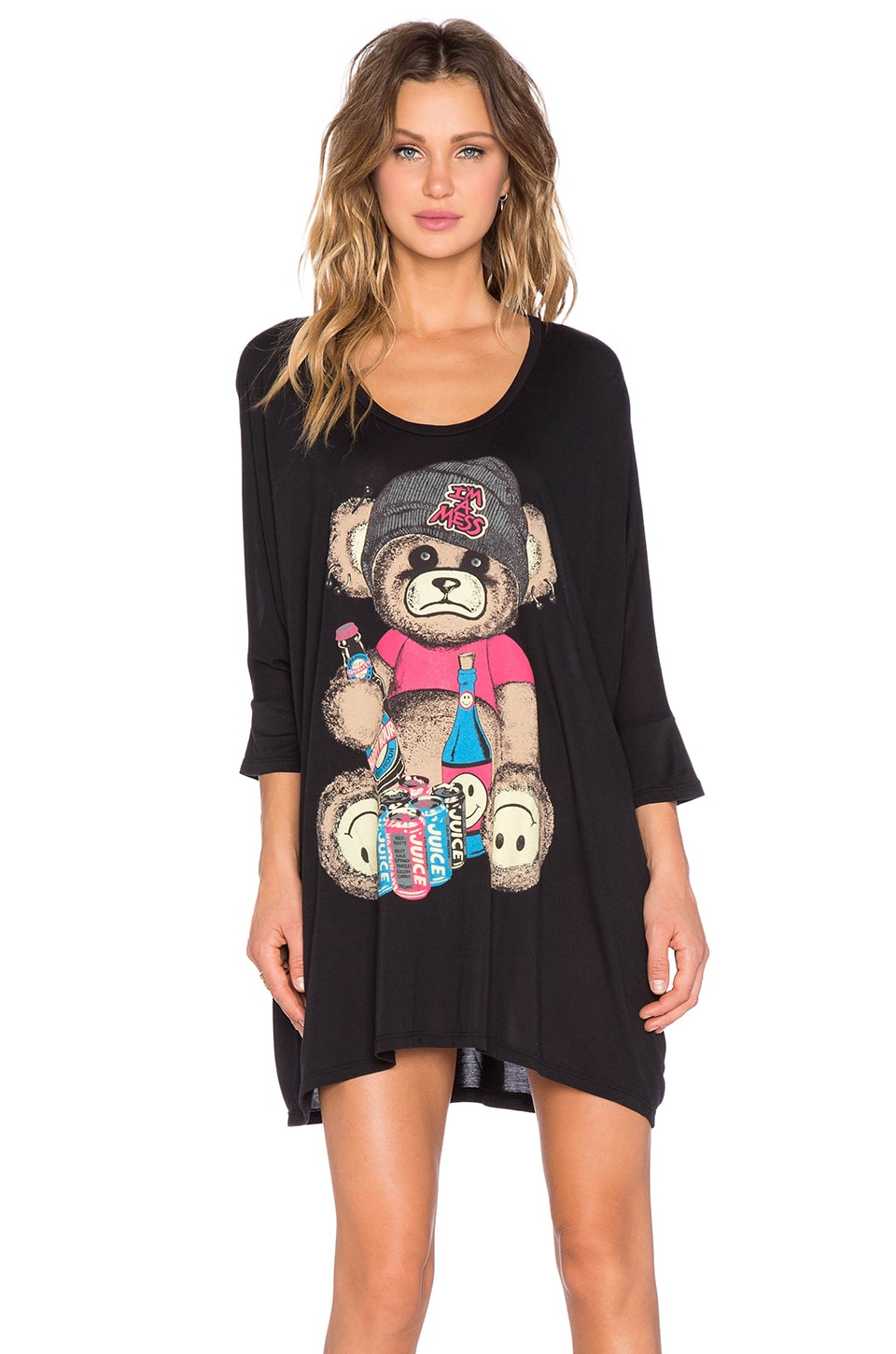 Lauren Moshi Milly Color Juice Bear Oversized Dress in Black