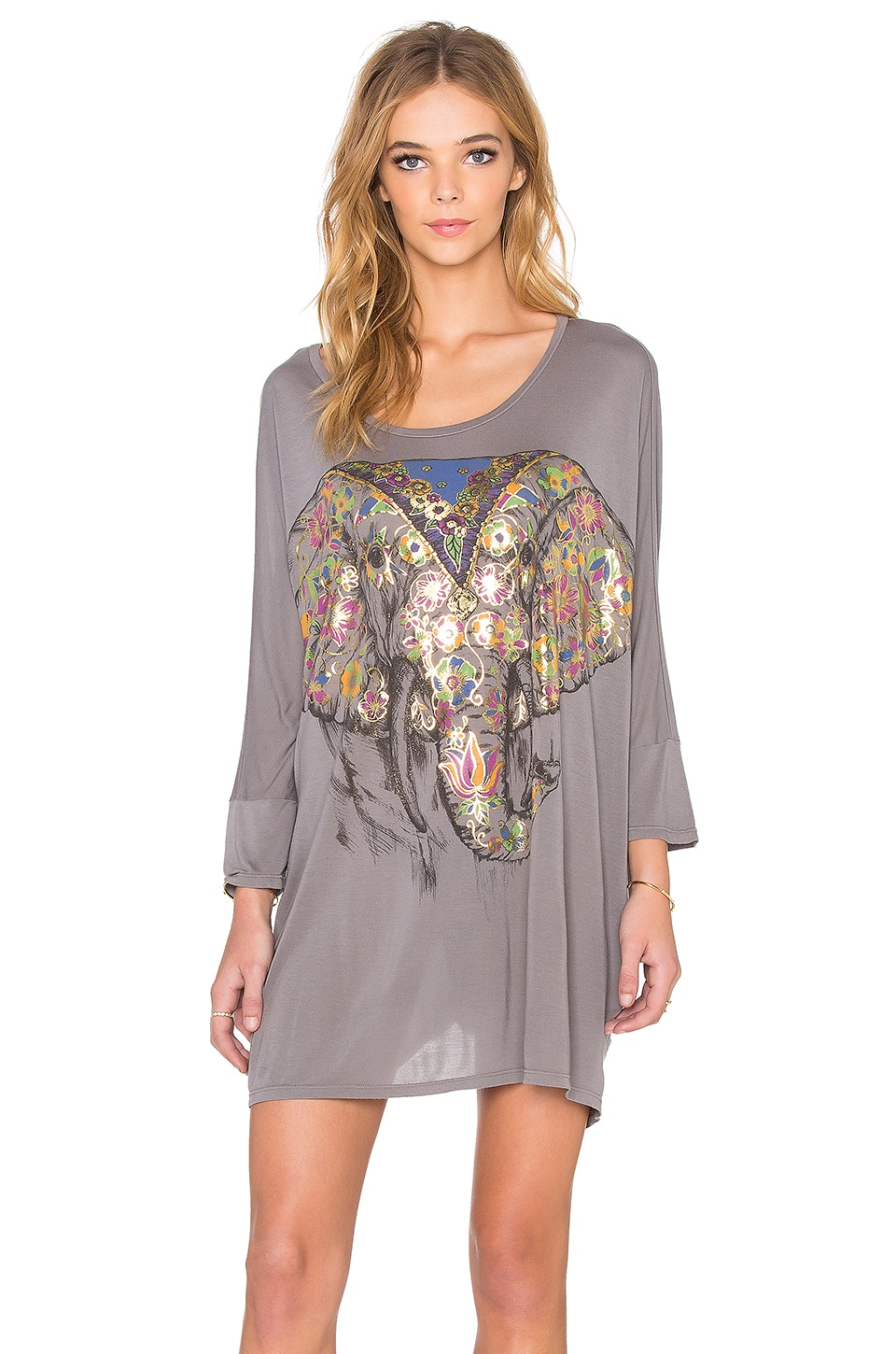 Lauren Moshi Milly Large Floral Elephant Oversized Dress in Steel