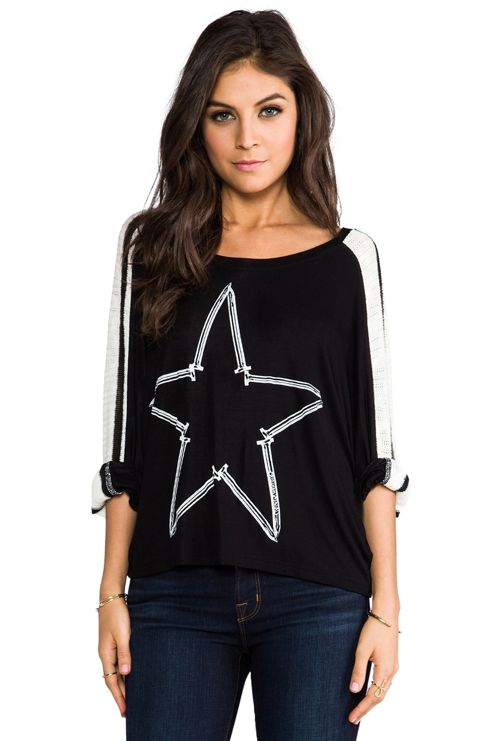 Lauren Moshi Nellie Nail Star Sweater in Black/White Stripe