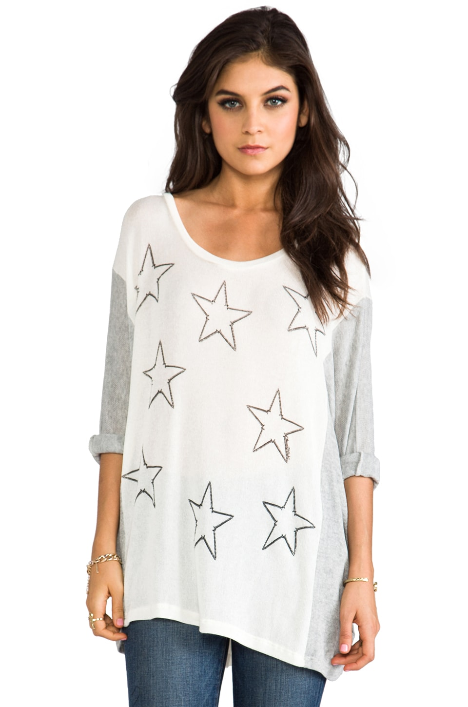 Lauren Moshi Nina Mini Nail Stars Color Block Sweater in Natural/Heather Grey
