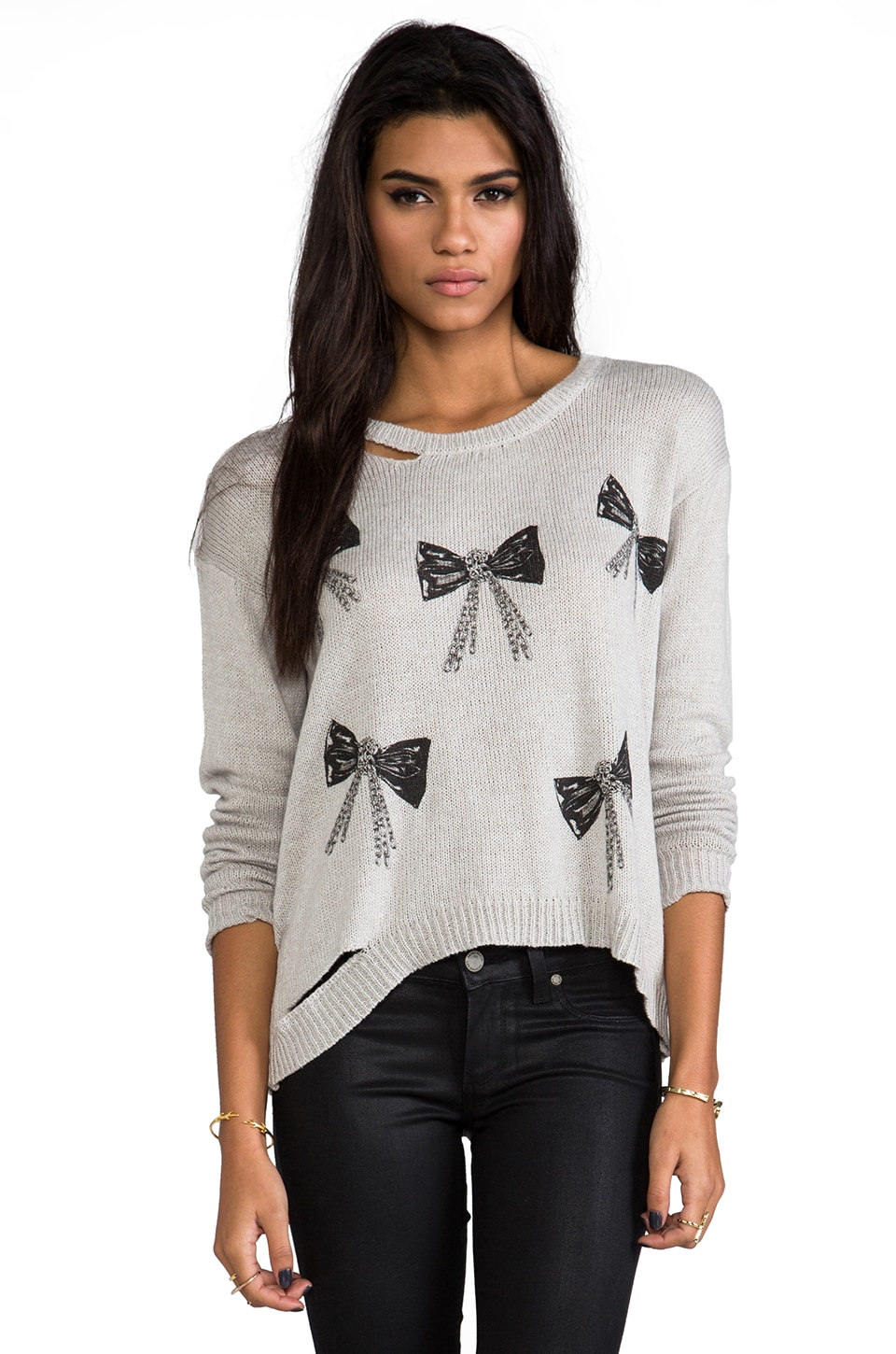 Lauren Moshi Jewel Mini Chain Bows Sweater in Grey