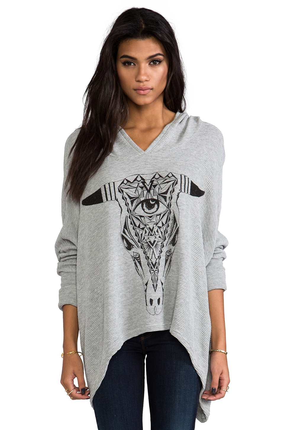 Lauren Moshi Wilma Large Aztec Bull Hoodie Sweater in Grey
