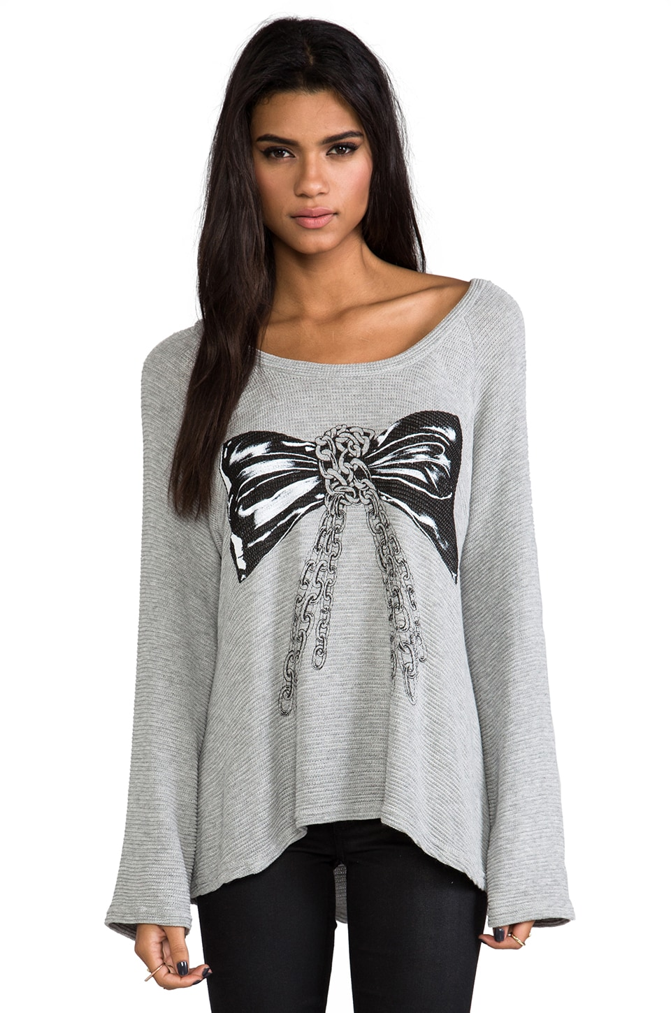 Lauren Moshi Kenna Color Chain Bow Knit Pullover in Grey