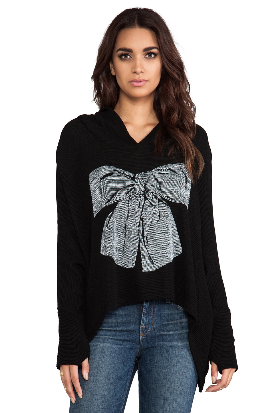 Lauren Moshi Wilma Stripe Bow Knit Hooded Sweater in Black