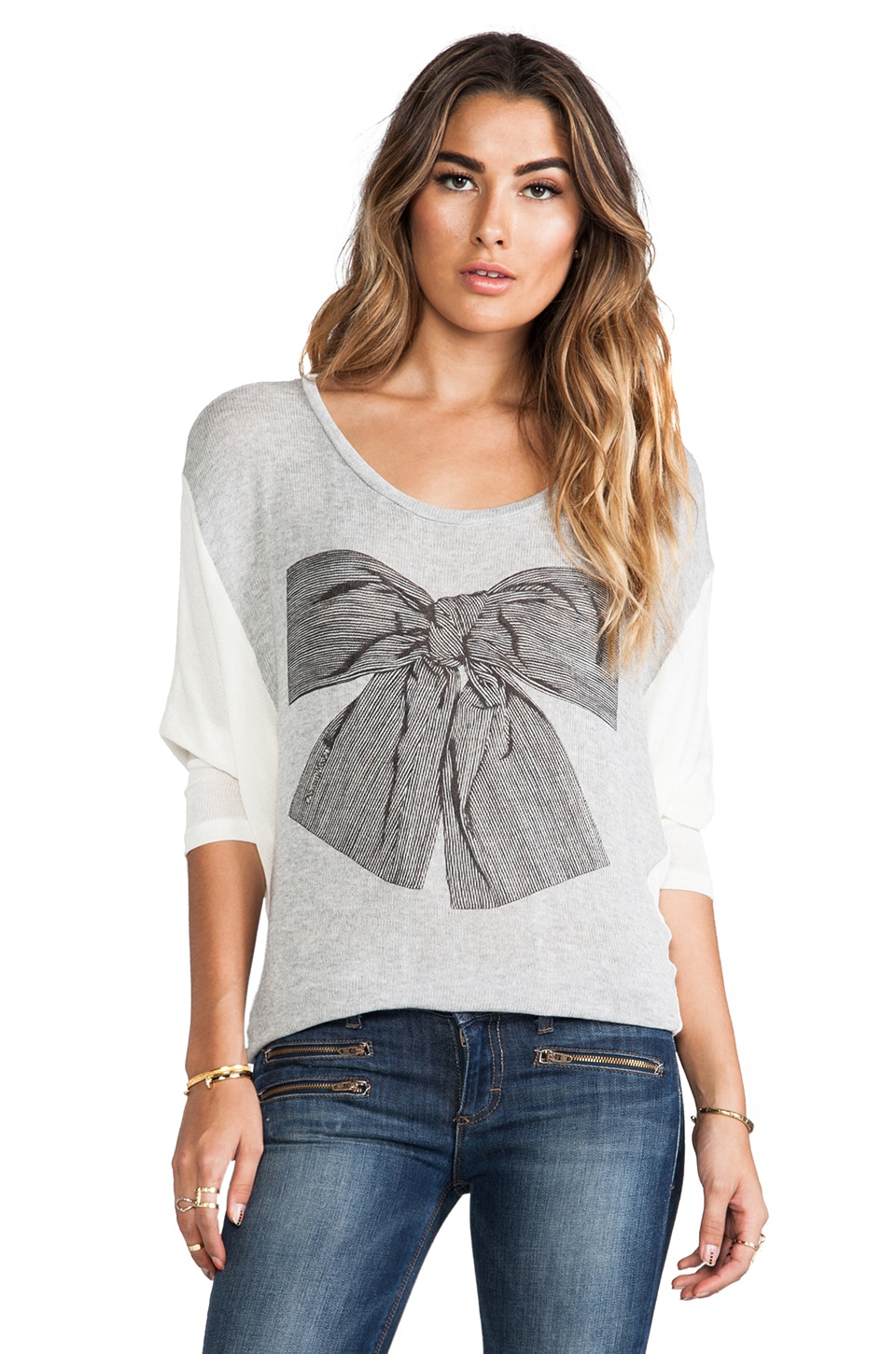 Lauren Moshi Nina Stripe Bow Color Block Sweater in Heather Grey & Natural