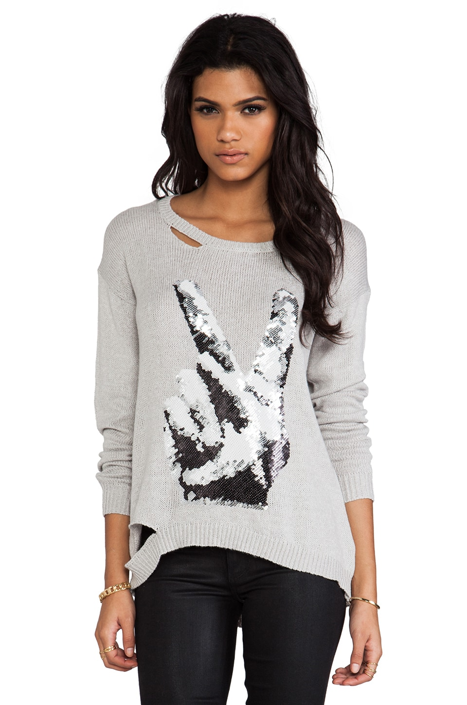 Lauren Moshi Peace Hand Sequin Sweater in Grey