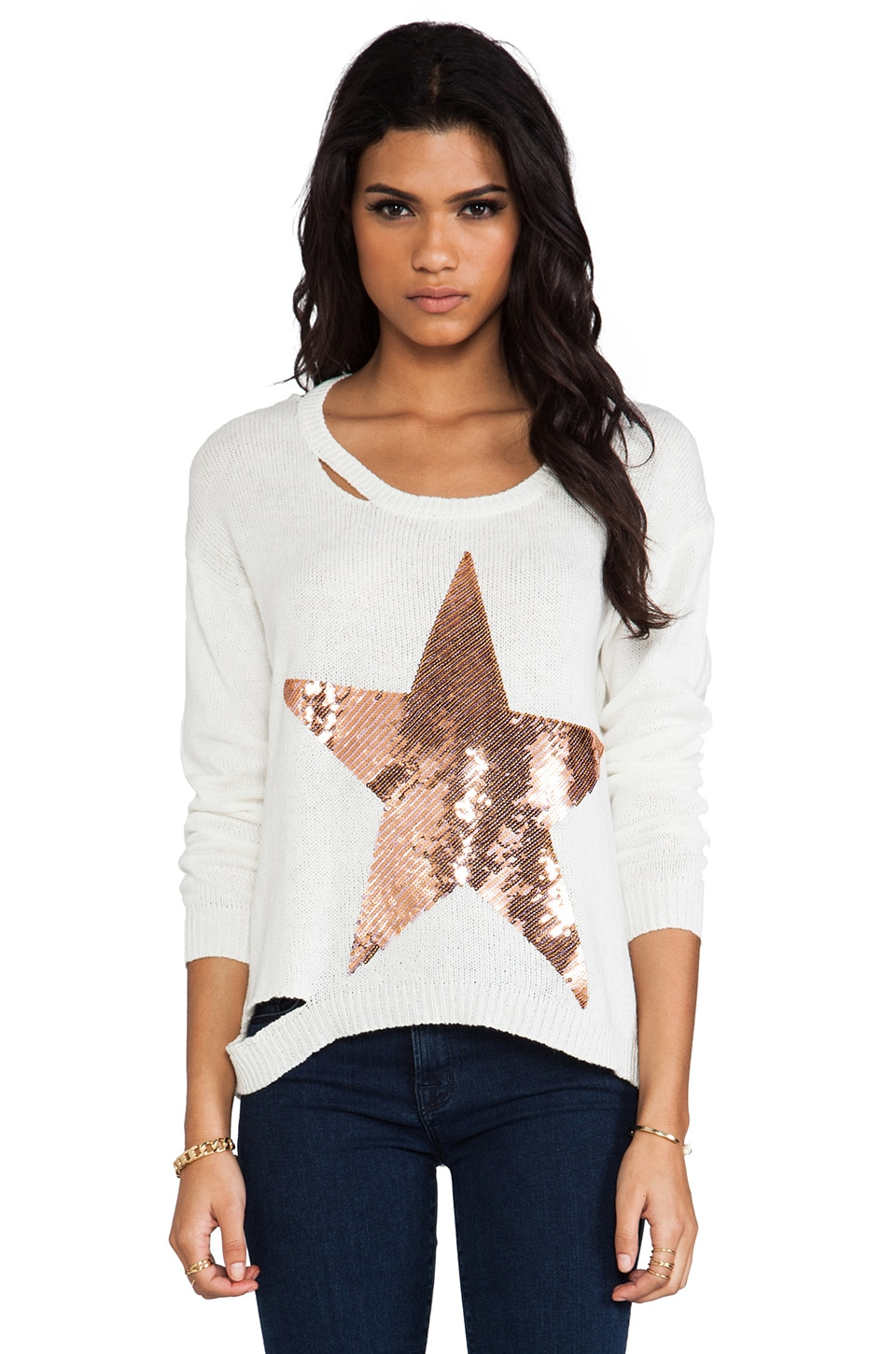 Lauren Moshi Jewel Sequin Stripe Star Sweater in Natural
