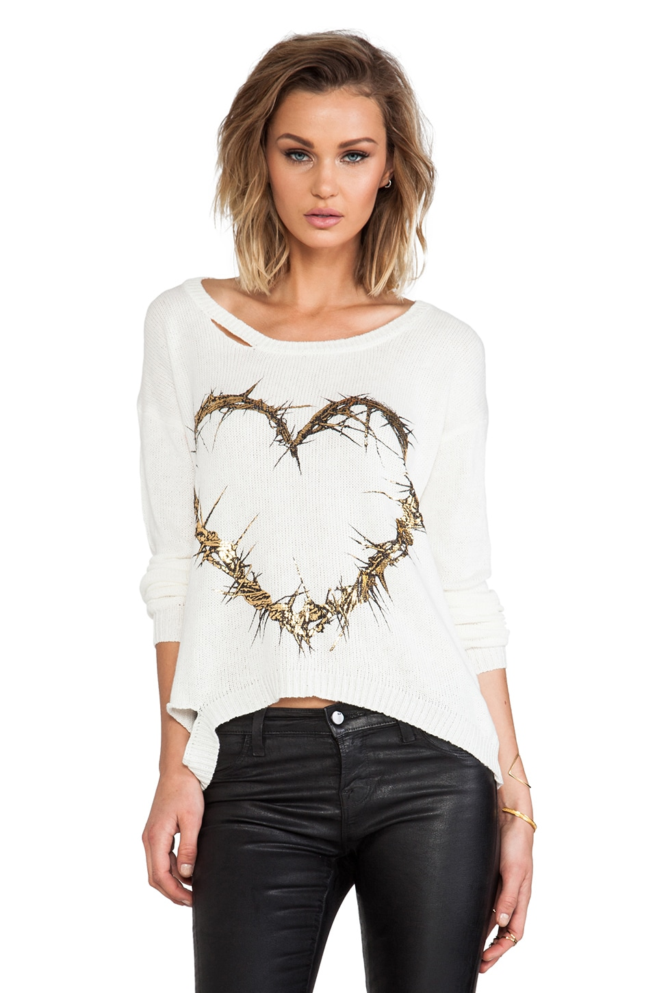 Lauren Moshi Jewel Foil Thorn Heart Sweater in Natural
