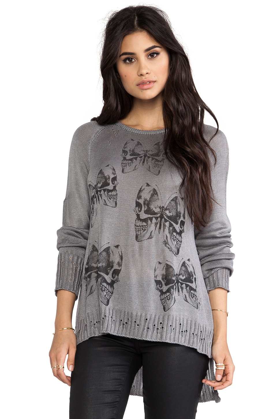 Lauren Moshi Helena Mini Skull Butterfly Sweater in Heather Grey