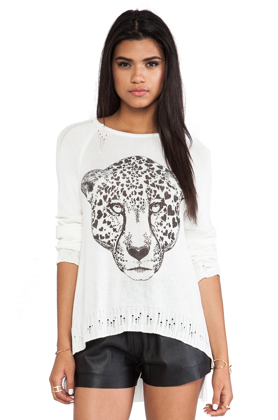 Lauren Moshi Helena Heart Leopard Head Sweater in White