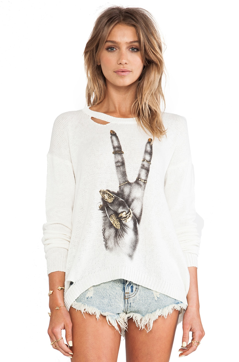 Lauren Moshi Jewel Foil Peace Hand Holes Sweater in Natural