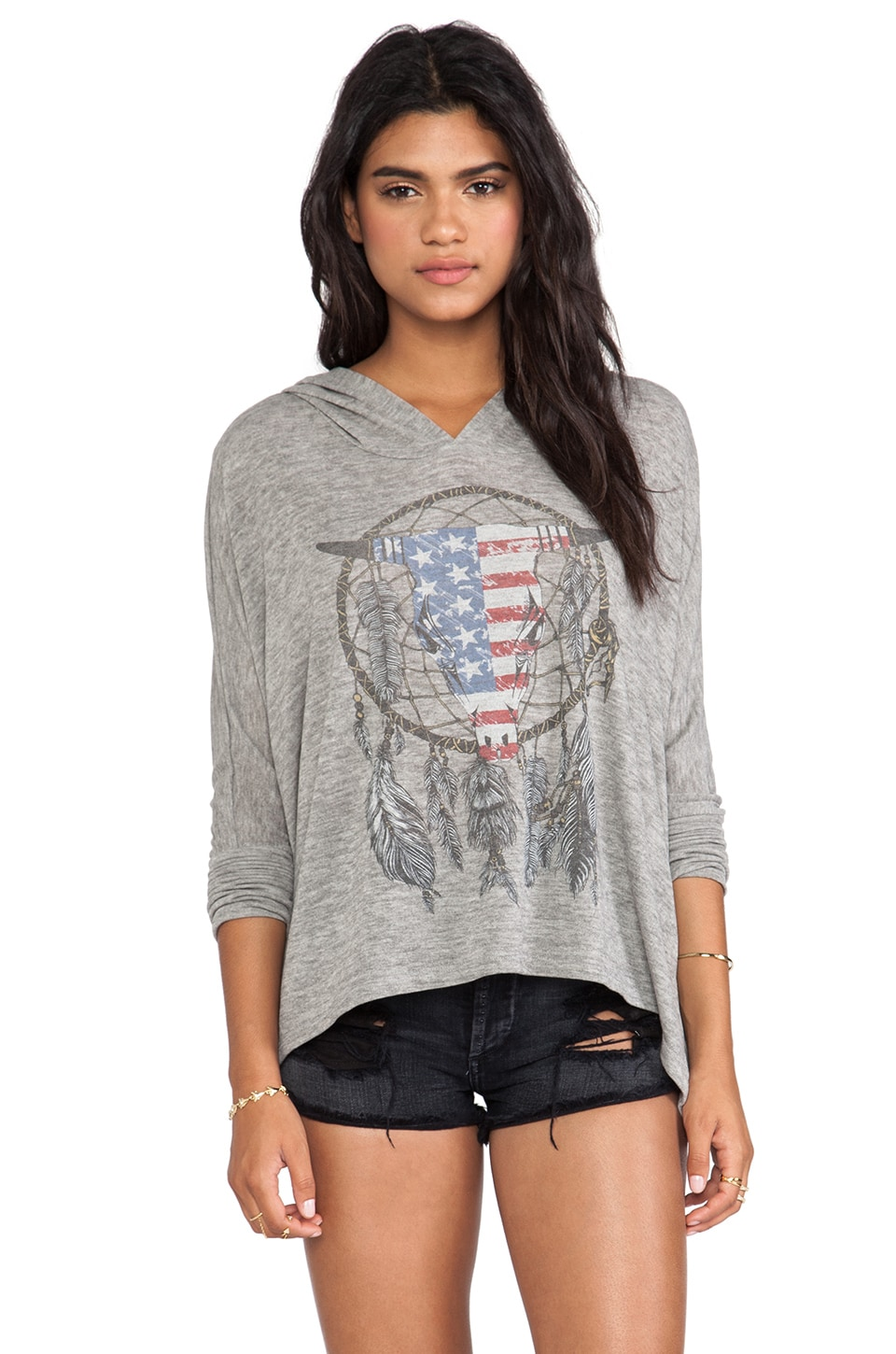 Lauren Moshi Wilma Flag Bull Hoodie Sweater in Olive