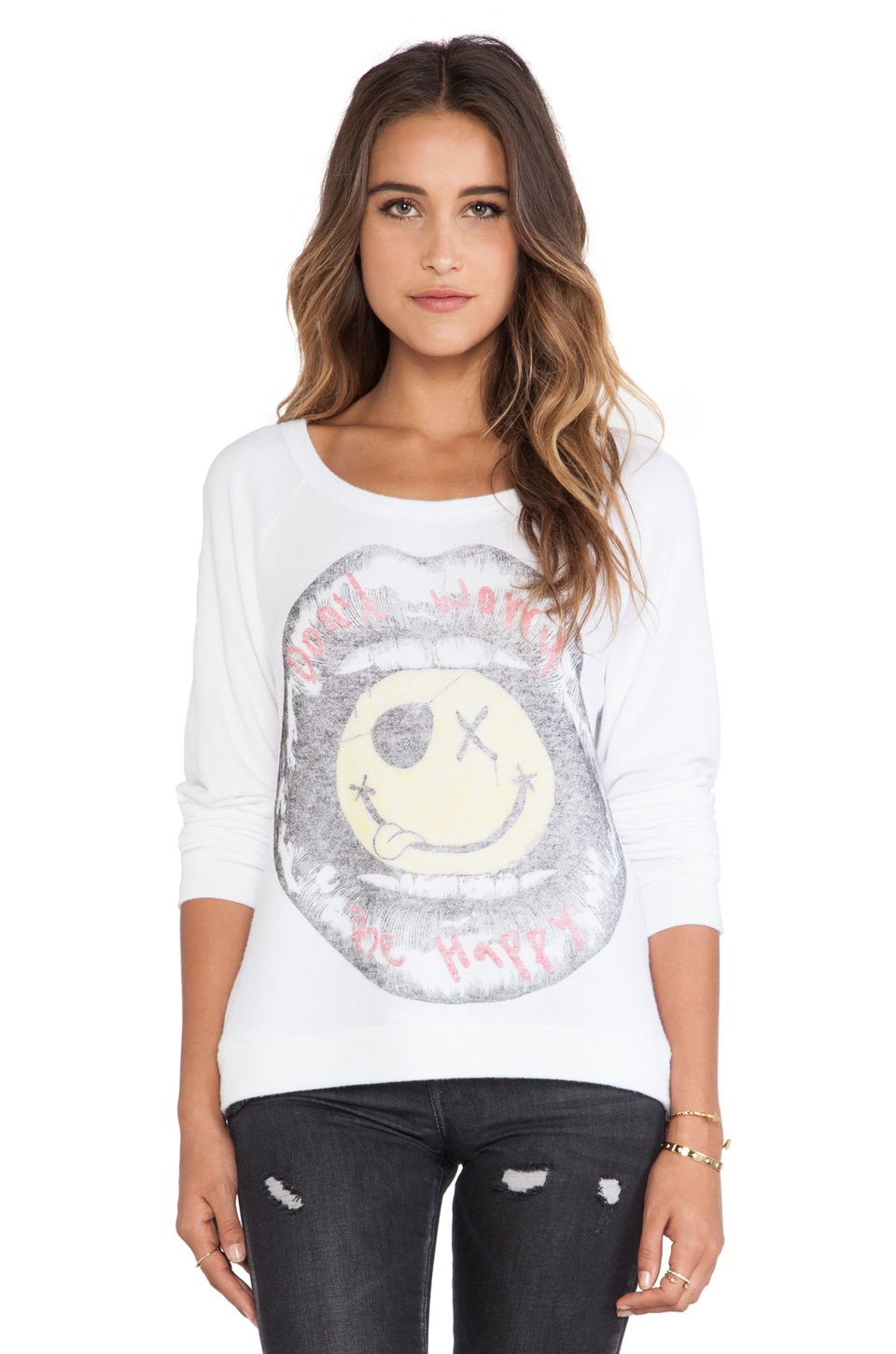 Lauren Moshi Brenna Long Sleeve Pullover in White