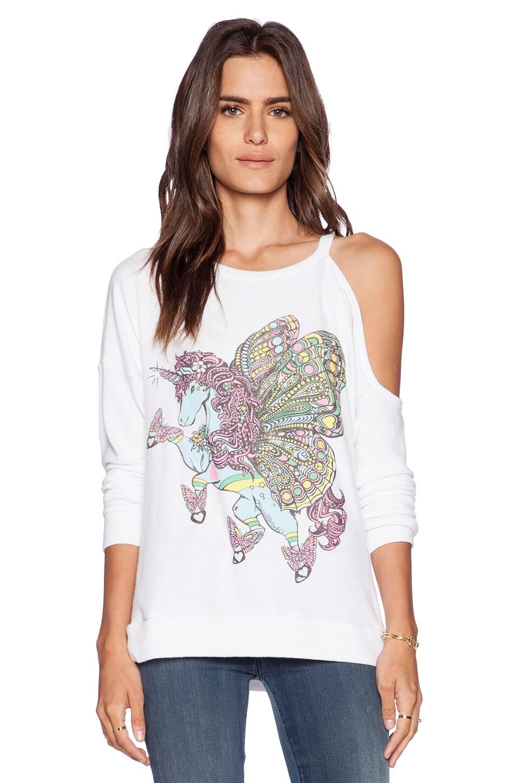 Lauren Moshi Quinn Flying Unicorn One Shoulder Open Pullover in White