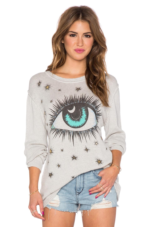 Lauren Moshi Chantel Cosmic Eye Boyfriend Sweater in Grey