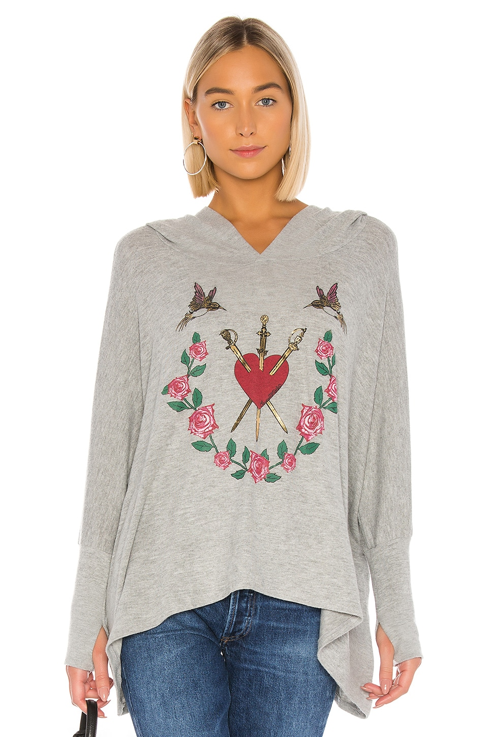 Lauren Moshi Wilma Oversized Pullover in Heather Grey