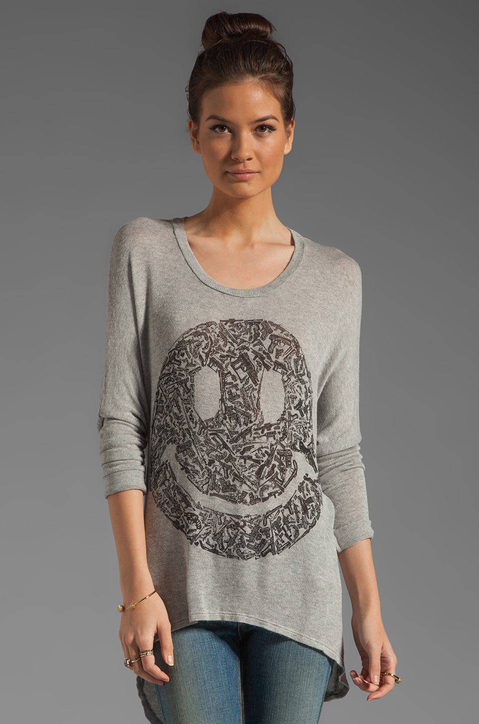 Lauren Moshi Reagan Gun Happyface Asymmetrical Hem Sweater in Heather Grey