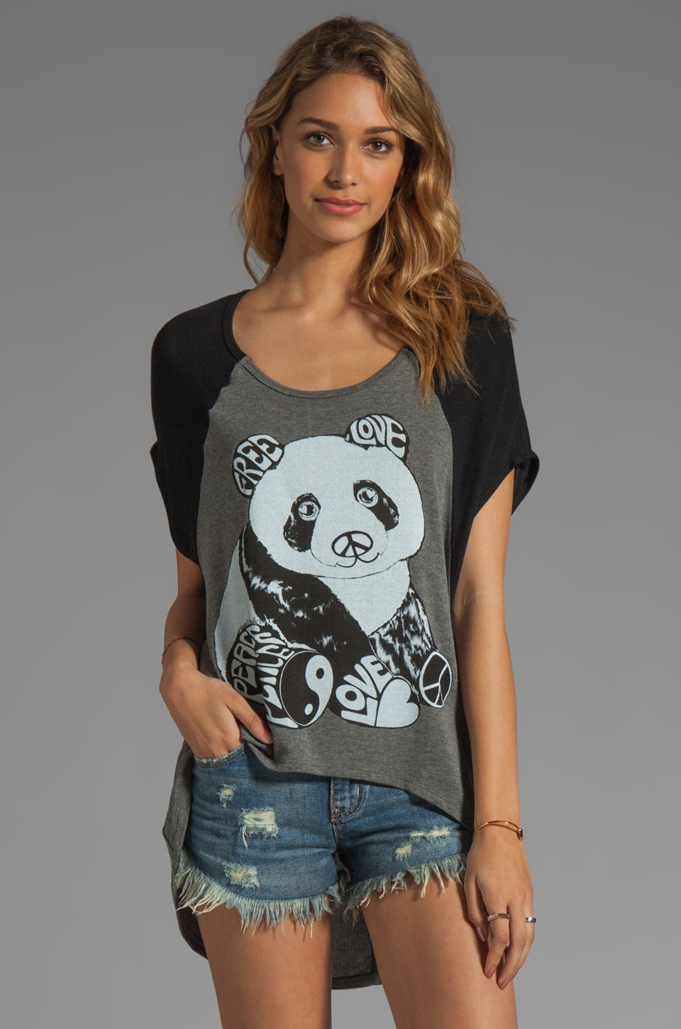 Lauren Moshi Betsy 2 Color Luv Panda Sweater in Heather/Black