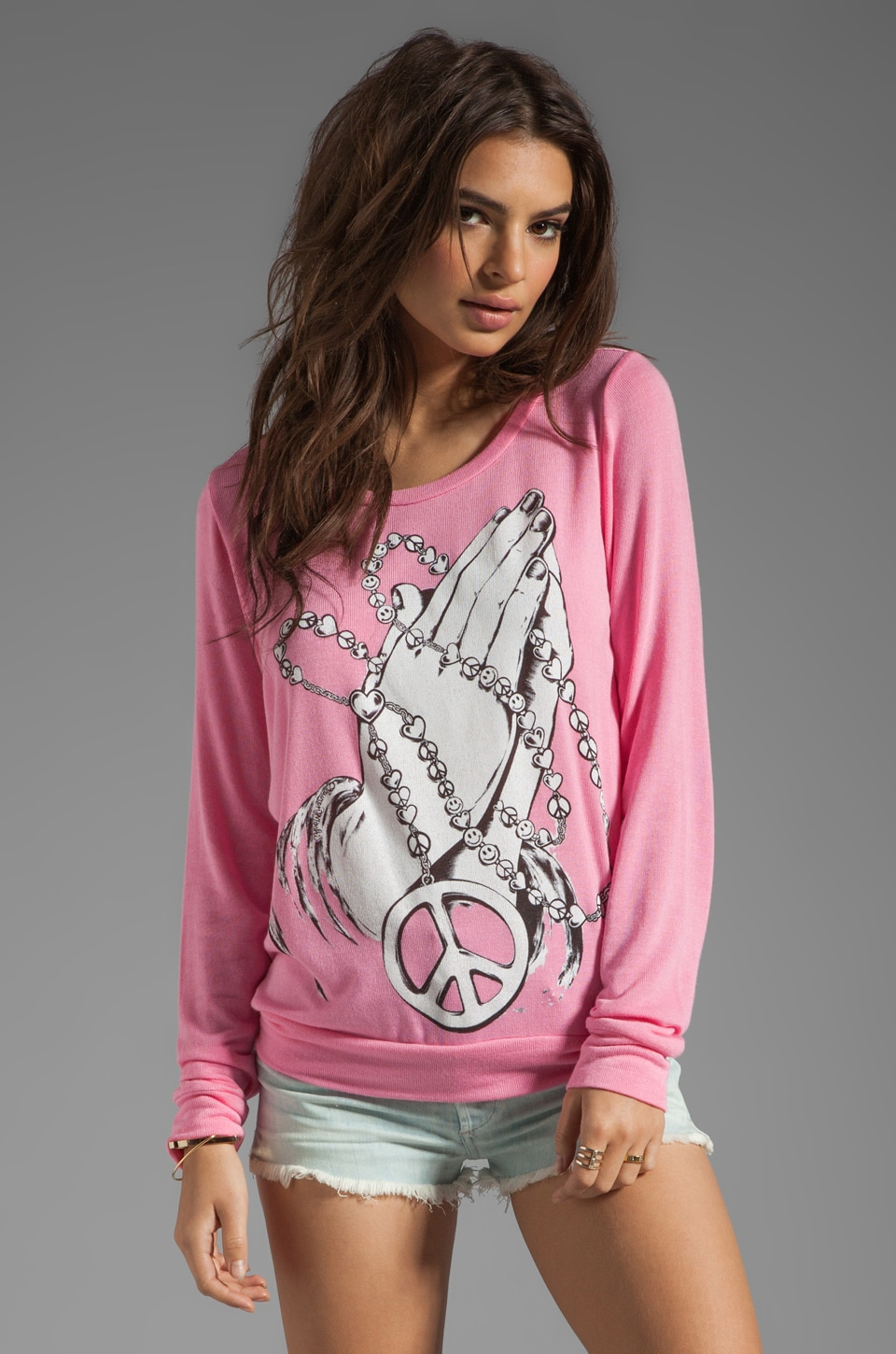 Lauren Moshi Addison 4 Peace Sweater in Malibu Pink