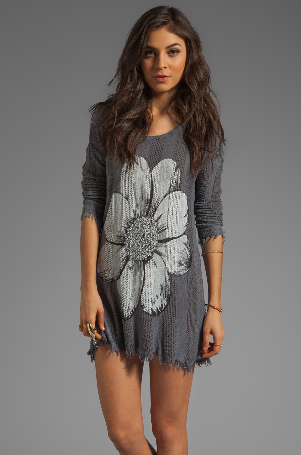 Lauren Moshi Gretta Color Skull Flower Sweater Dress in Steel