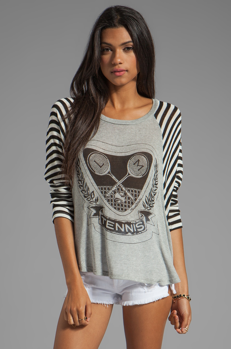 Lauren Moshi Goldy Tennis Raglan Sweater in Heather Grey/Stripe