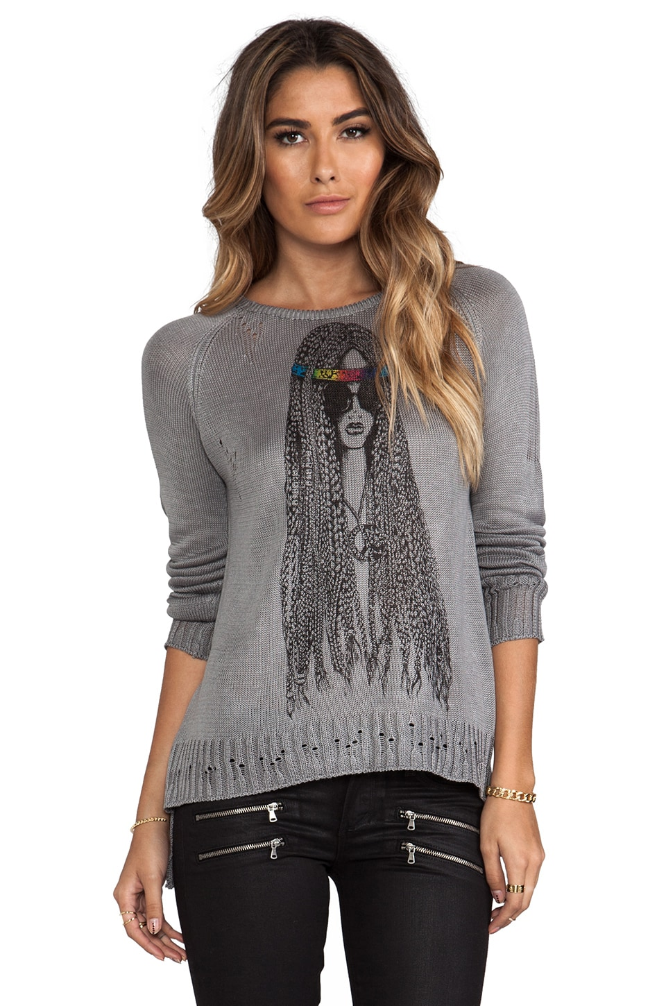 Lauren Moshi Helena Foil Hippie Sweater in Heather Grey