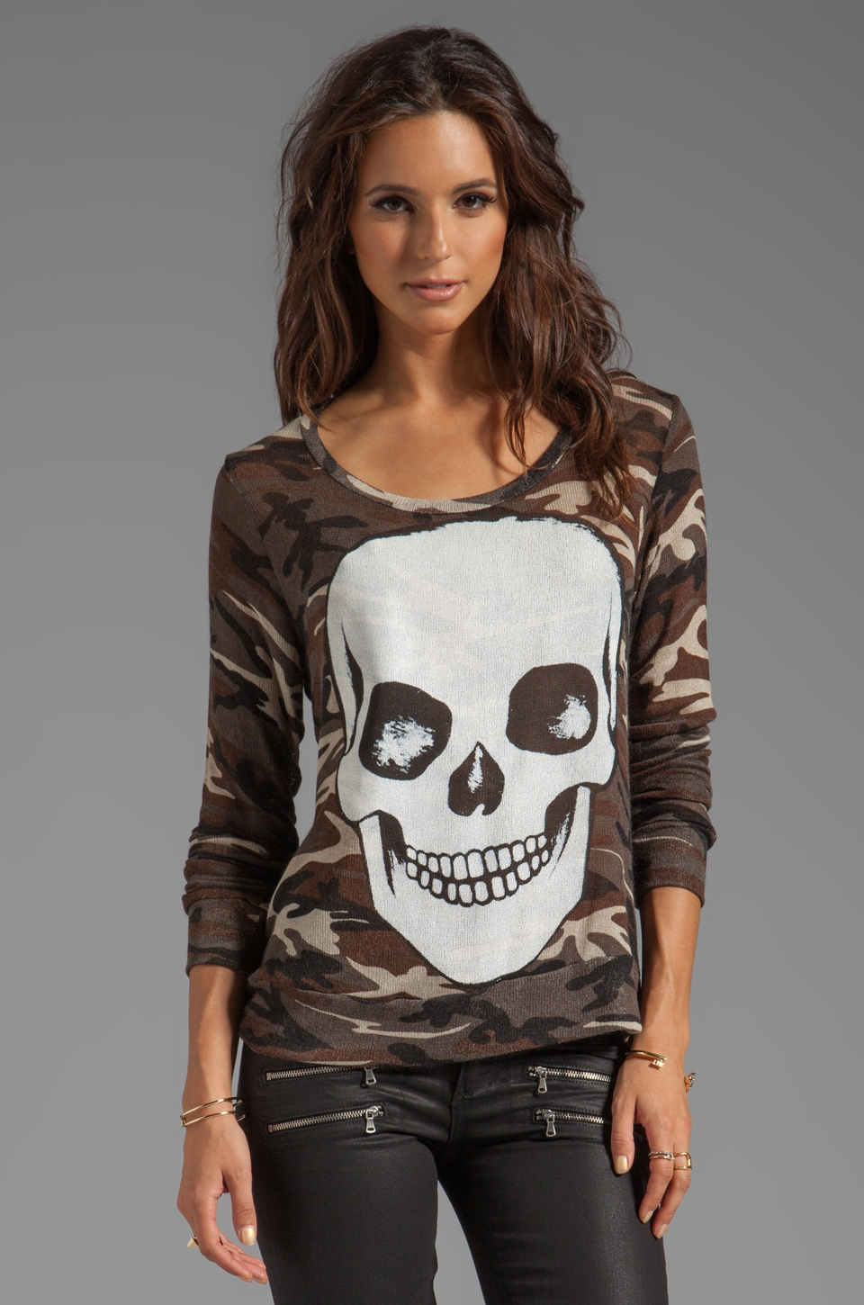 Lauren Moshi Margaret Skull Face Long Sleeve Sweater in Camo